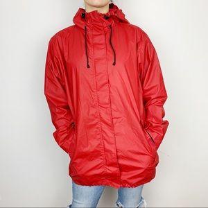 LL Bean Red Waterproof Rain Jacket Sz M